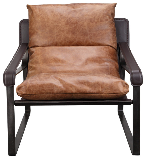 Moe S Connor Leather Club Chair Brown Industrial