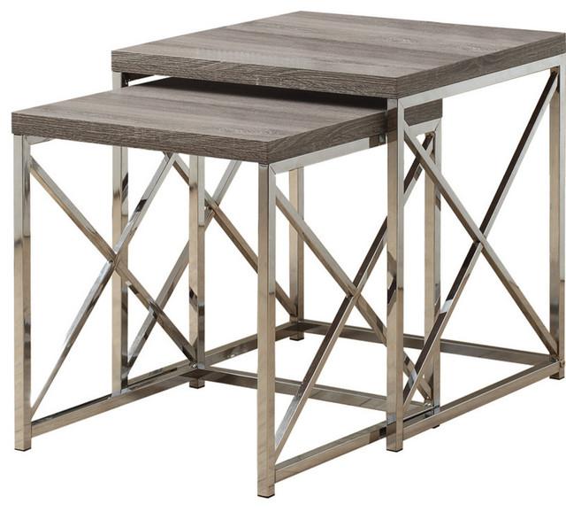 nesting table 2piece set dark taupe with chrome metal