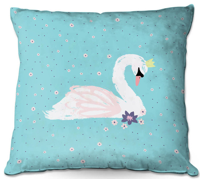 Houzz Spring Landscaping Trends Study: Swan 1 Teal Outdoor Pillow