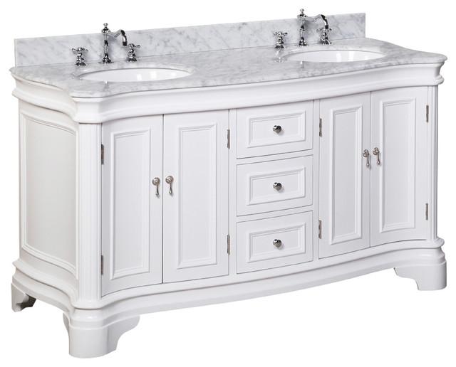 "Katherine 60"" Bath Vanity, White, Carrara Marble, Double Vanity"