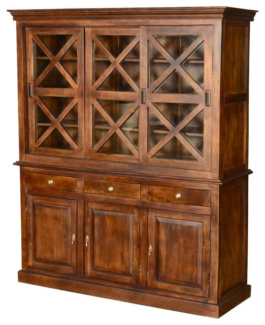 Pennsylvania Dutch Rustic Mango Wood Glass Door Dining Room Hutch