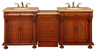 Fabian Double Bathroom Vanity, Travertine Top With LED, 83""