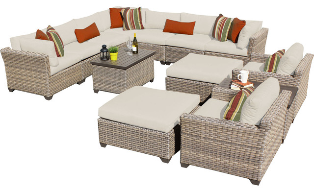 Superb Hampton 13A Outdoor Wicker 13 Piece Patio Set, Tan Contemporary Outdoor  Lounge