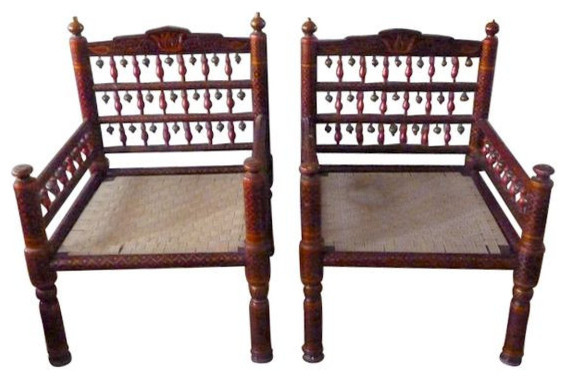 Pair Of Vintage Handmade Indian Style Chairs