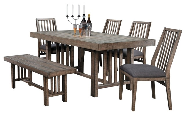 6-Piece Chilberg Industrial Dining Set Table, 4 Chair, Bench, Rustic Wood