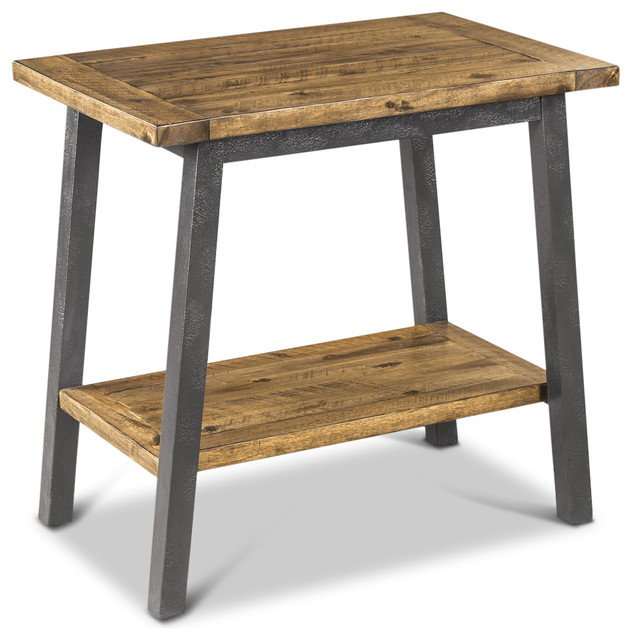 Tanner Rustic Lodge Iron Frame Wood Side Table Transitional Side Tables And