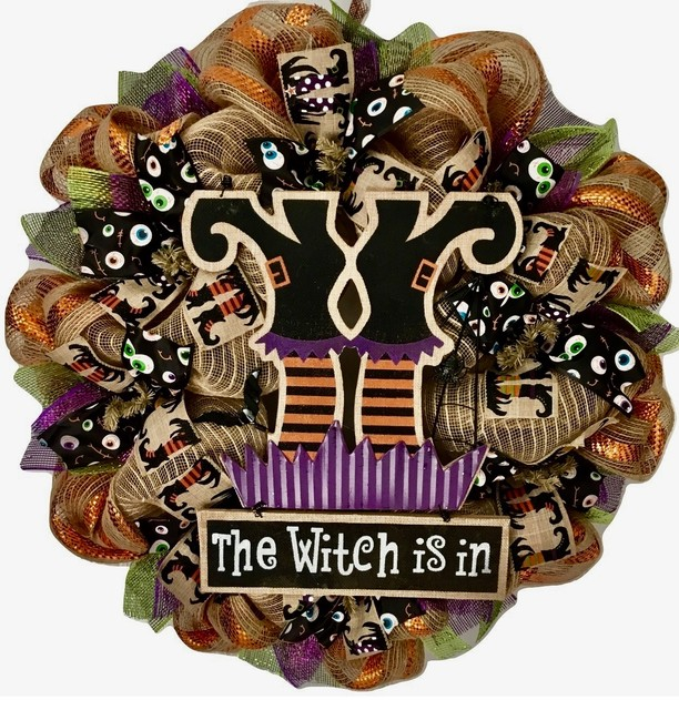 The Witch Is In Handmade Halloween Deco Mesh Wreath.
