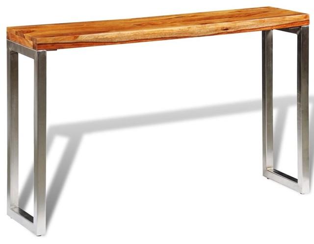 VidaXL Solid Sheesham Wood Console Table With Steel Legs