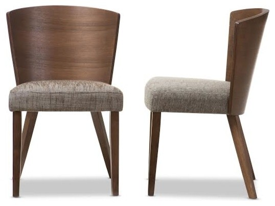 Baxton Studio Sparrow Brown and Gravel Wood Modern Dining Chair, Set of 2