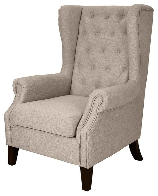 Tufted upholstered wingback chair beige armchairs and Tufted accent chair