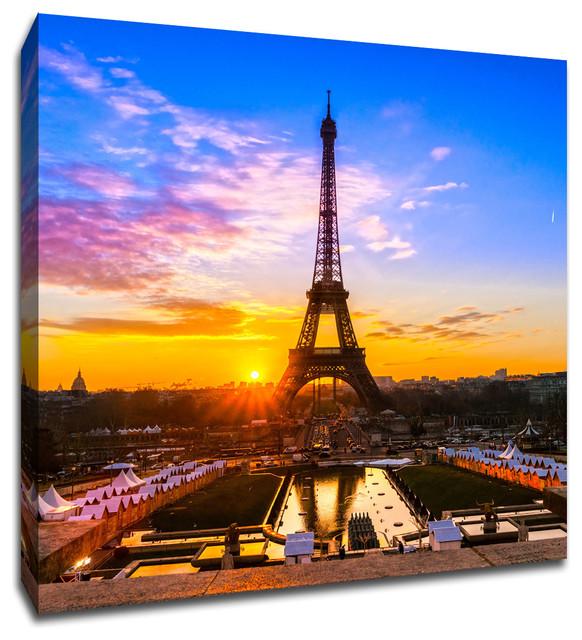 "Paris Eiffel Tower Pillow 16 X 16: Eiffel Tower, Paris Global Landmarks Canvas 16""x16"
