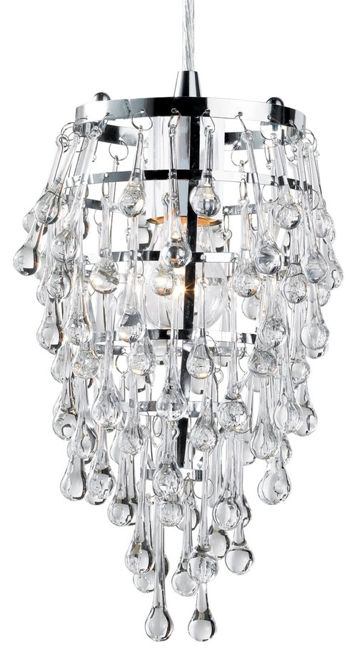 Eurofase 12260-010 Vidal 1-Light Pendant, Chrome/Clear Crystal contemporary pendant lighting