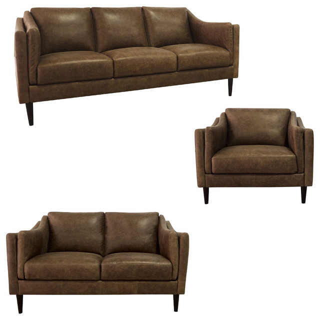 Luke Leather - Ava 3 Piece Living Room Set in Bomber Tan - AVA-SLC  Features: S