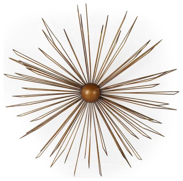 Adeco Decorative Gold-Color Decor Widget, Contemporary Modern Starburst Design.