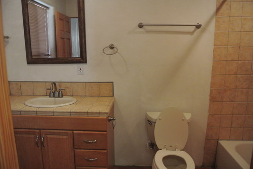 Combine Two Ugly Basic Bathrooms That Share A Wall To