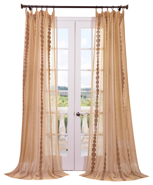 Cleopatra Embroidered Sheer Single Panel Curtain, Gold Contemporary Curtains