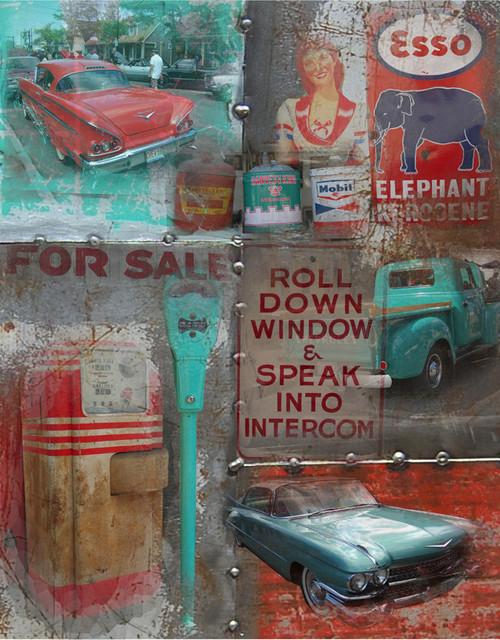 Man Cave Canvas Art : Man cave speak into intercom vintage auto graphic art on