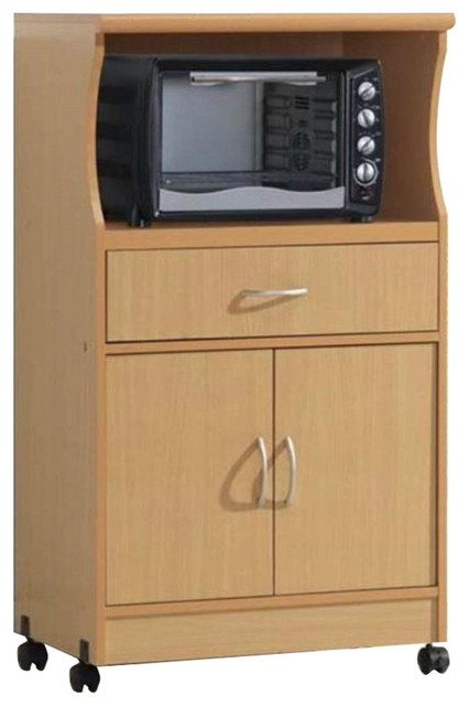 Beech Wood Microwave Cart Kitchen Cabinet With Wheels And Storage Drawer.
