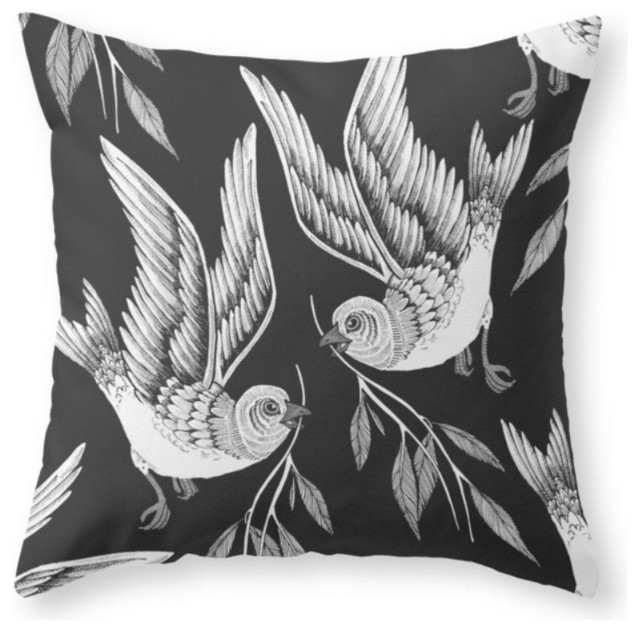 Miuotti Birds Throw Pillow - Contemporary - Decorative Pillows - by Society6