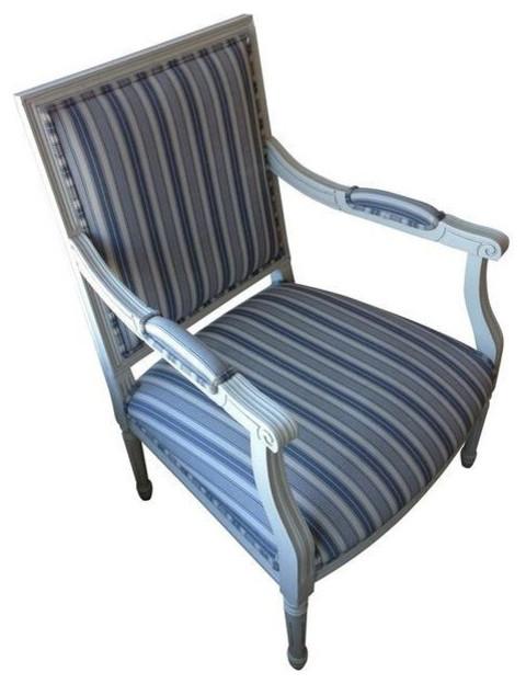 Blue U0026 Cream Stripe Louis XVI Side Chair   $1,000 Est. Retail   $300