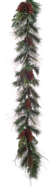 6&x27; Eucalyptus Berry Pine Cone Artificial Christmas Garland, Unlit.
