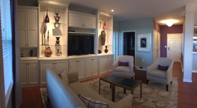Custom White built-ins to display modern art collection