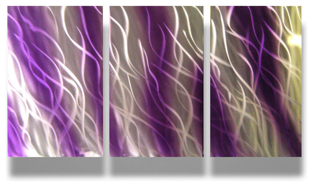 Perfect Metal Wall Art Decor Abstract Contemporary Modern Sculpture Hanging  Reef  Purple