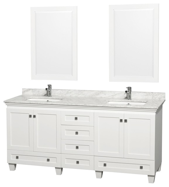 """Wyndham Collection 72"""" Acclaim White Double Vanity With White Porcelain Sink."""