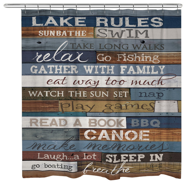 Laural Home - Lake Rules Shower Curtain & Reviews | Houzz
