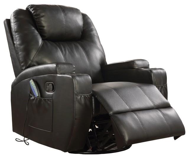 Astounding Swivel Rocker Recliner Massage In Black Bonded Leather Match Boned Leather Match Pdpeps Interior Chair Design Pdpepsorg