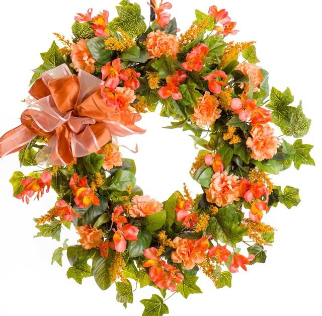 "Peach Carnation And Alstroemeria Silk Wreath, 30""."