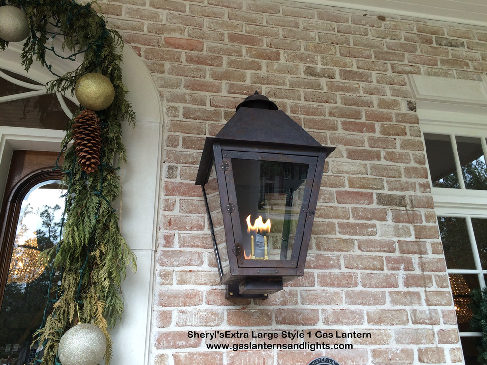 Sheryl's Extra Large Style 1 Gas Lantern with Dark Patina Finish