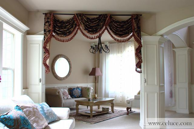 Designer Valance Curtains With Flip Pole Swags And Tails By Celuce Traditional
