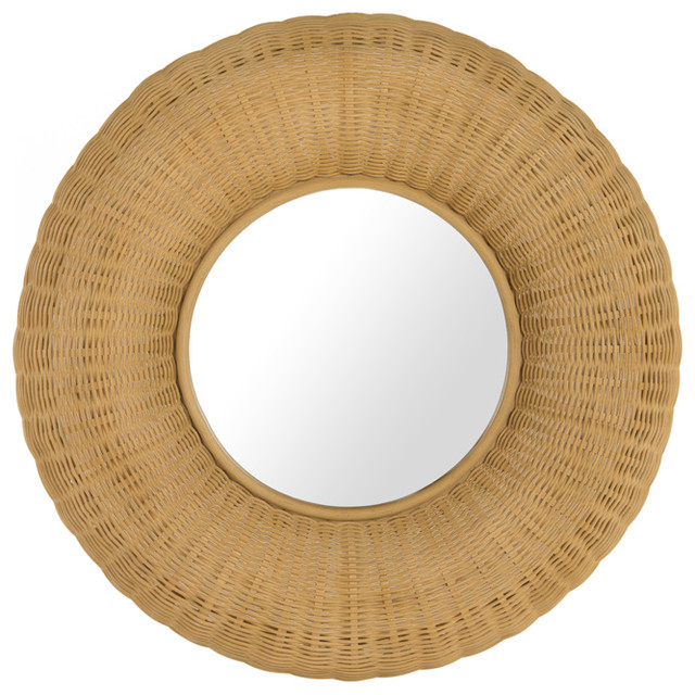 Wicker Donut Decorative Wall Mirror Natural Color Tropical Mirrors By Kouboo