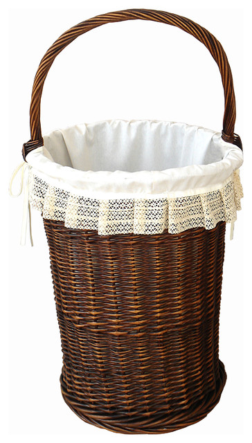 Lined Wicker Laundry Hamper.