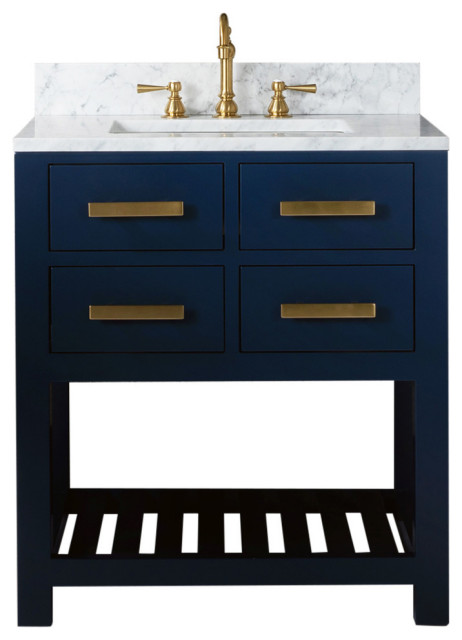 Madalyn 24 Monarch Blue Bathroom Vanity With Satin Brass Faucet Transitional Bathroom Vanities And Sink Consoles By Water Creation Houzz