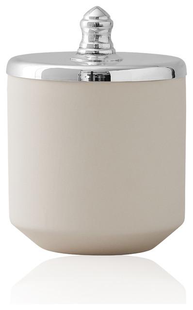 Ceramic Jar, Silver And White, Small.