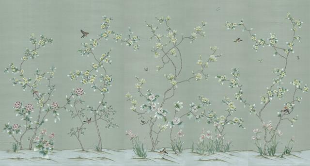 Chinoiserie wall mural chanteur jade asian wallpaper for Chinoiserie wall mural