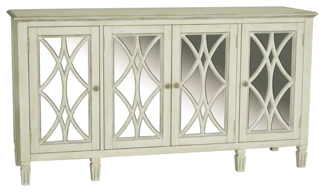 Florence Mirrored Door Console, Aged White.