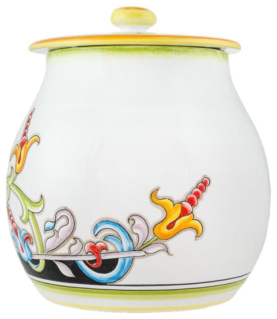 Garden Biscottiera, Majolica Cookie Jar..