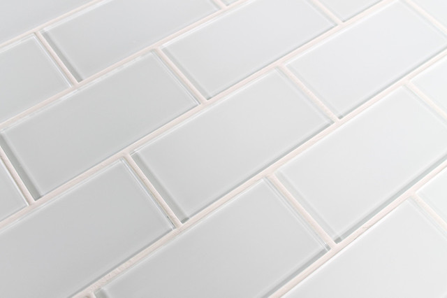 Snow White Glass Subway Tile Contemporary Mosaic Tile