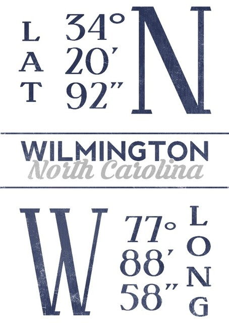 Quot Wilmington Nc Latitude And Longitude Blue Quot Print