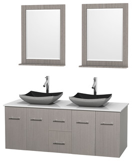 Centra 60 Gray Oak Double Bathroom Vanity White Stone Top Contemporar