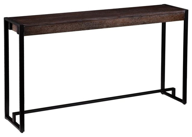 Macen Console Table In Burnt Oak With Black Finish.