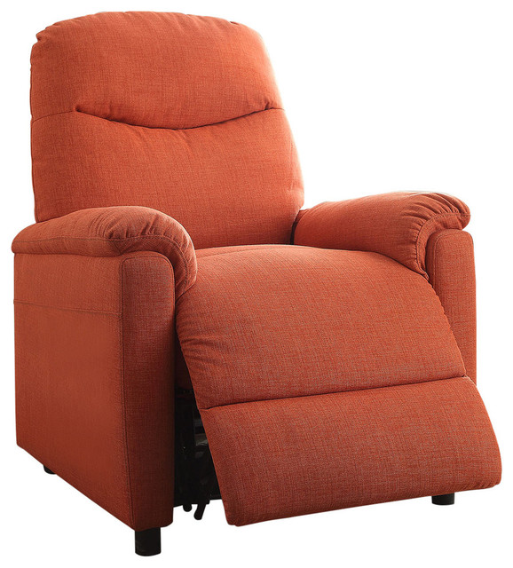 Catina Recliner With Power Lift, Orange Contemporary Recliner Chairs
