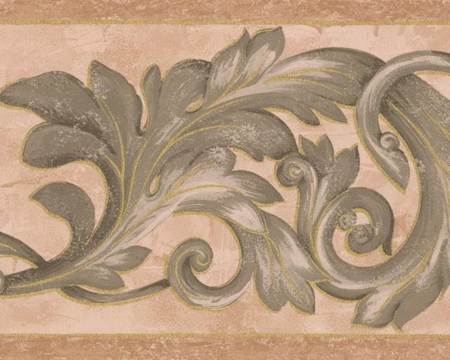 Dark Green Vine Brown Beige Damask Wallpaper Border Retro Design