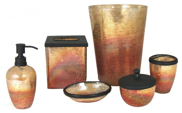 Lava 6 piece bathroom accessory set amber bathroom for Bath accessories sale