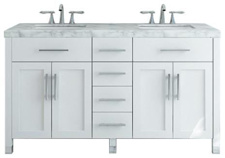 "59"" Boardwalk Double Bath Vanity With 5cm Carrara Marble."