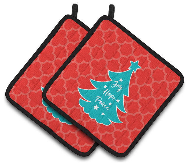 Red Pot Holders: Christmas Tree Red Teal Pot Holders, Set Of 2