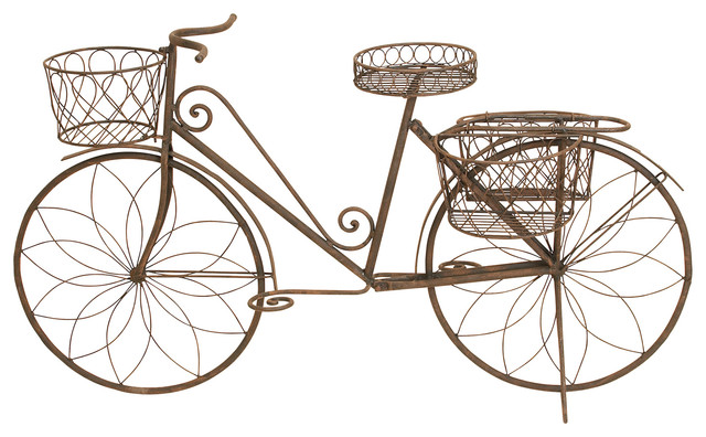 Metal Bicycle Garden Planter Traditional Garden Statues And Yard